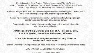 Photo of Terkait Surat Edaran Walikota Depok, Pelayanan Loket Pembayaran PDAM Tirta Asasta Tutup